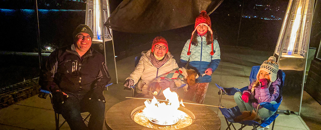 Enjoy S'mores with the family out on our heated patios